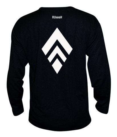 Unisex Reflective Long Sleeve Shirt - Broken Diamond - Back - Black