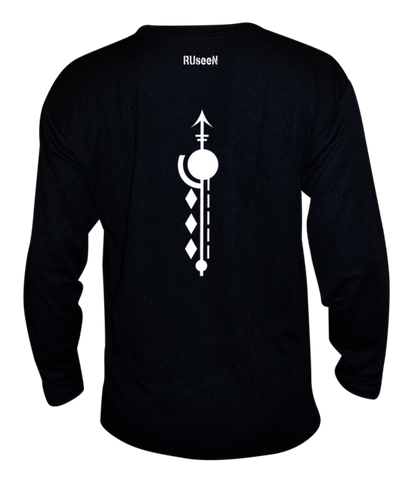 Unisex Reflective Long Sleeve Shirt - Paths - Back - Black