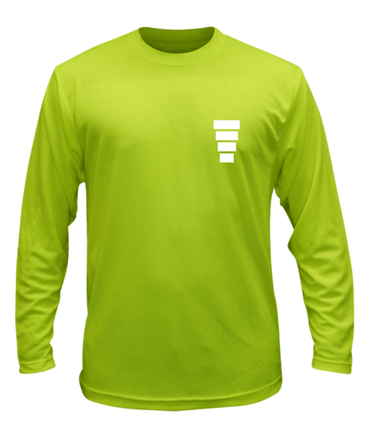Unisex Reflective Long Sleeve Shirt - Block - Front - Lime Yellow