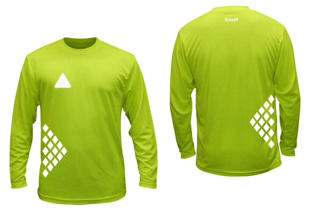 Unisex Reflective Long Sleeve Shirt - Diamond Pattern - Front & Back - Lime Yellow