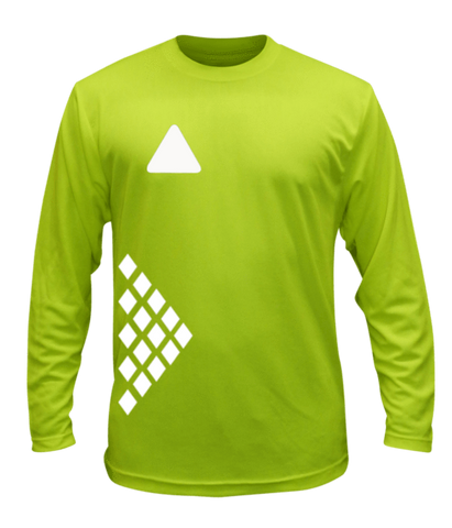 Unisex Reflective Long Sleeve Shirt - Diamond Pattern - Front - Lime Yellow