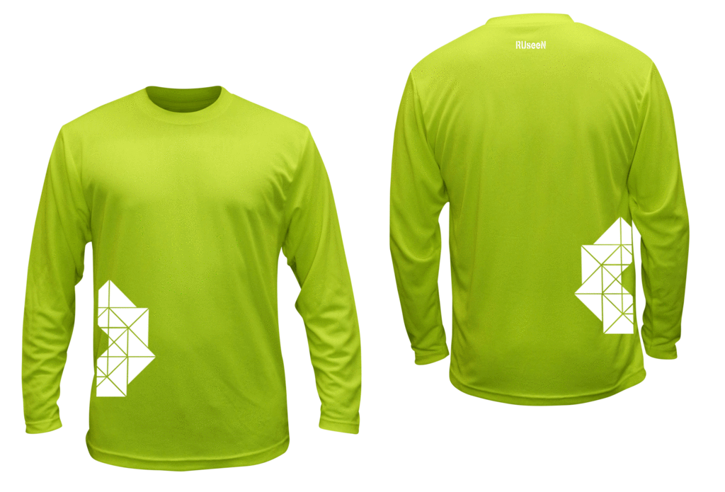 Unisex Reflective Long Sleeve Shirt - Geometric - Front & Back - Lime Yellow
