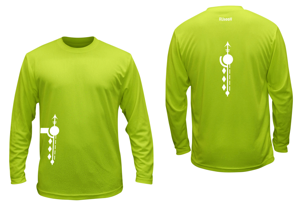 Unisex Reflective Long Sleeve Shirt - Paths - Front & Back - Lime Yellow