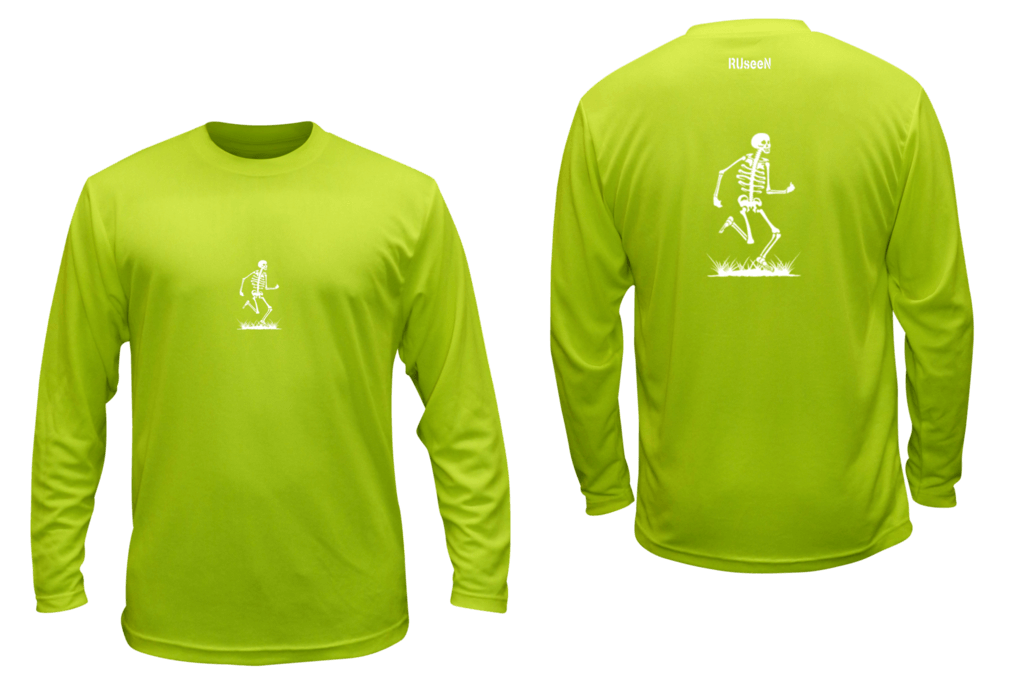 Unisex Reflective Long Sleeve - Skeleton - Front & Back - Lime Yellow
