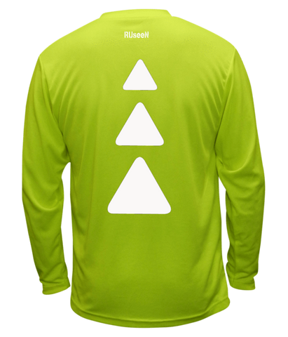 Unisex Reflective Long Sleeve Shirt - Triangles - Back - Lime Yellow