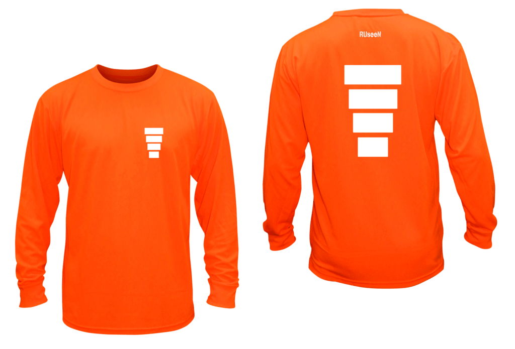 Unisex Reflective Long Sleeve Shirt - Block - Overstocks - Front & Back - Orange