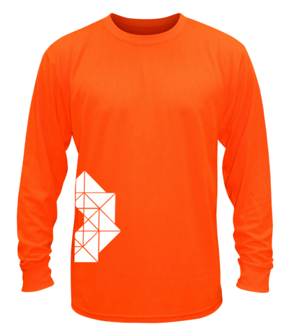 Unisex Reflective Long Sleeve Shirt - Geometric - Front - Orange