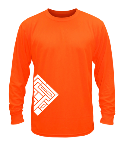 Unisex Reflective Long Sleeve Shirt - Labyrinth - Front - Orange