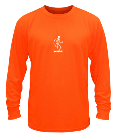 Unisex Reflective Long Sleeve - Skeleton - Front - Orange