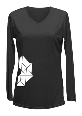 Women's Reflective Long Sleeve Shirt - Geometric - Front - Black