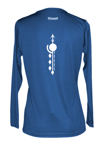 Women's Reflective Long Sleeve Shirt - Paths - Back - Electric Blue