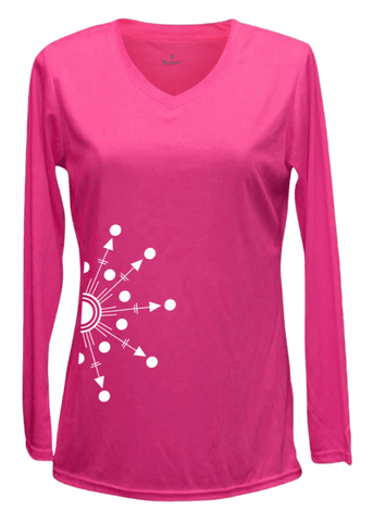 Women's Reflective Long Sleeve Shirt - Directions - Front - Neon Pink
