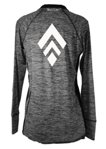 Women's Reflective Long Sleeve Quarter Zip Shirt - Broken Diamond - Back - Heather Black