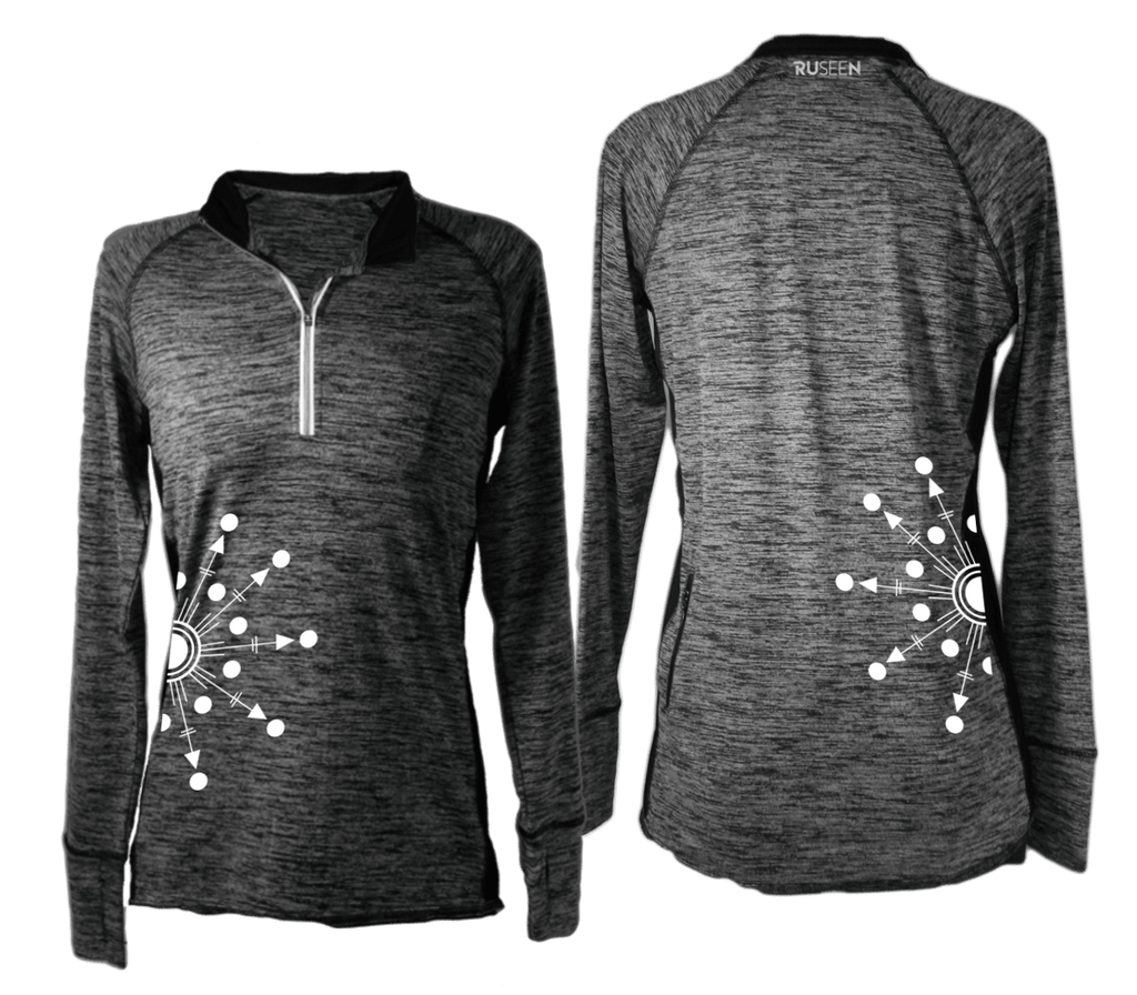 Women's Reflective Long Sleeve Quarter Zip Shirt - Directions - Front & Black - Heather Black
