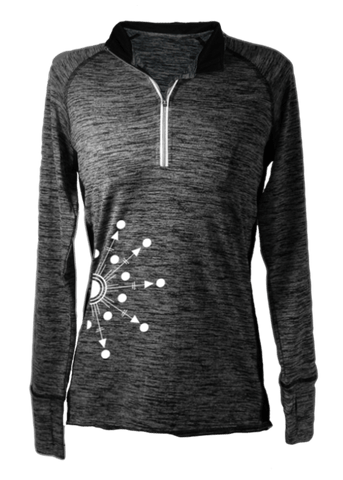 Women's Reflective Long Sleeve Quarter Zip Shirt - Directions - Front - Heather Black