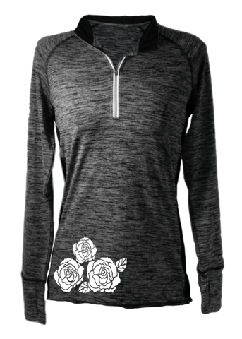 Women's Reflective Long Sleeve Quarter Zip Shirt - Roses - Front - Heather Black