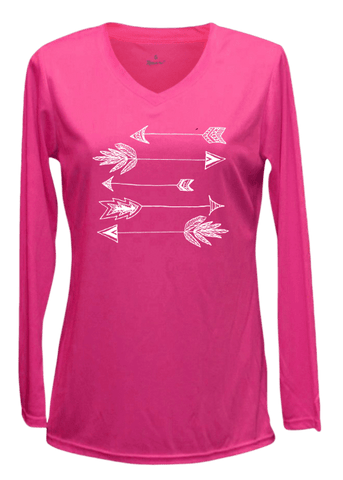 Women's Reflective Long Sleeve Shirt - Arrows - Front - Neon Pink