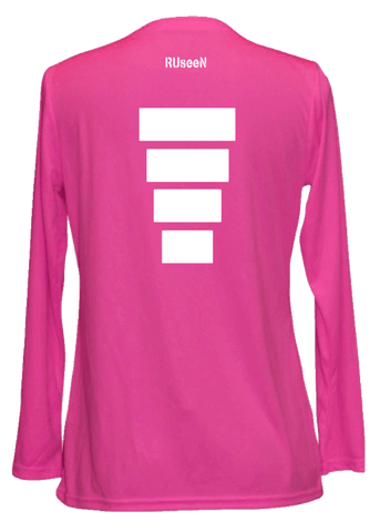 Women's Reflective Long Sleeve Shirt - Block - Back - Neon Pink