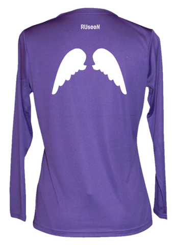 Women's Reflective Long Sleeve Shirt - Wings - Back - Dark Purple