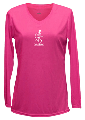 Women's Reflective Long Sleeve Shirt - Skeleton - Front - Neon Pink