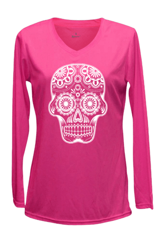 Women's Reflective Long Sleeve Shirt - Sugar Skull - Front - Neon Pink