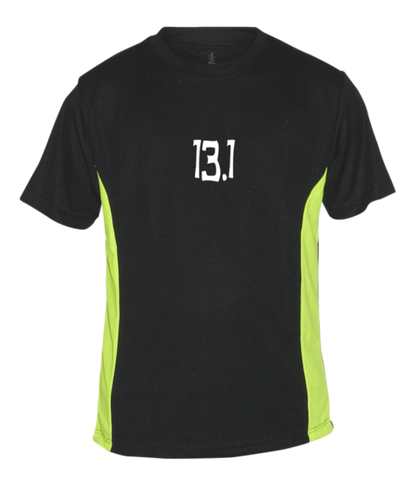 Men's Reflective Short Sleeve Shirt - 13.1 Half Crazy - Front - Black w/ Lime Yellow Stripe