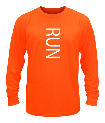 Unisex Reflective Long Sleeve Shirt - RUN - Front - Orange