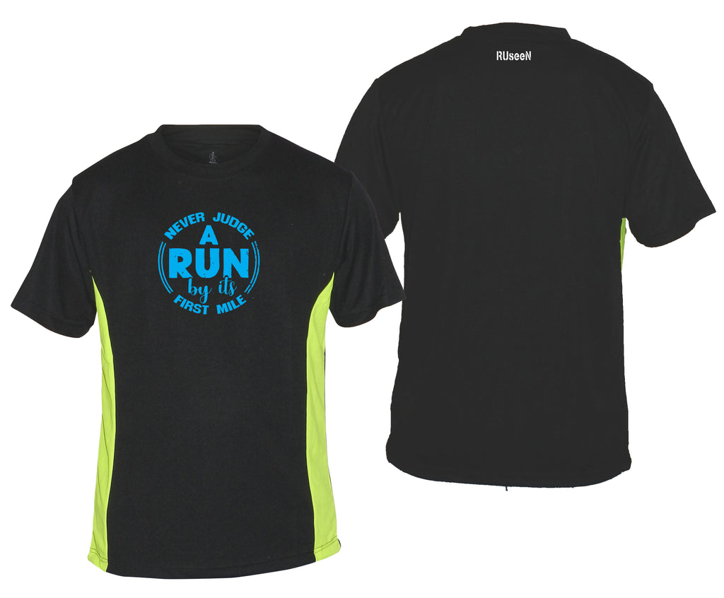 Men's Reflective Short Sleeve Shirt - Never Judge a Run - Black with Lime Sides