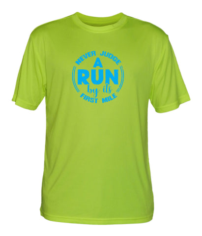 Men's Reflective Short Sleeve Shirt - Never Judge a Run - Lime Yellow front only