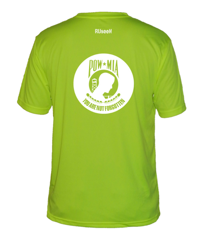 Men's Reflective Short Sleeve Shirt - POWMIA - Back - Lime Yellow