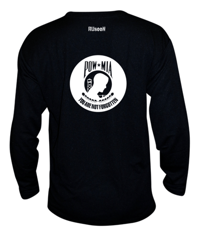Unisex Reflective Long Sleeve - POWMIA - Back - Black