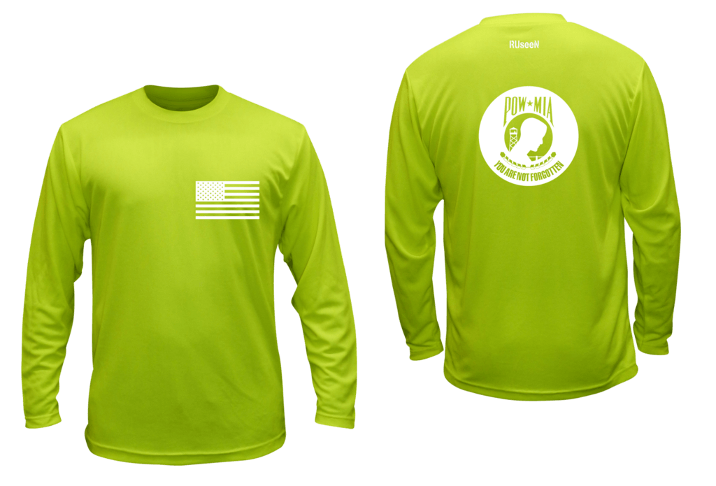 Unisex Reflective Long Sleeve - POWMIA - Front & Back - Lime Yellow