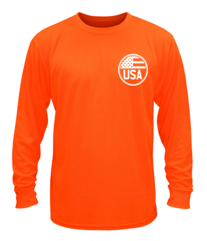 Unisex Reflective Long Sleeve Shirt - Proud American - Front - Orange