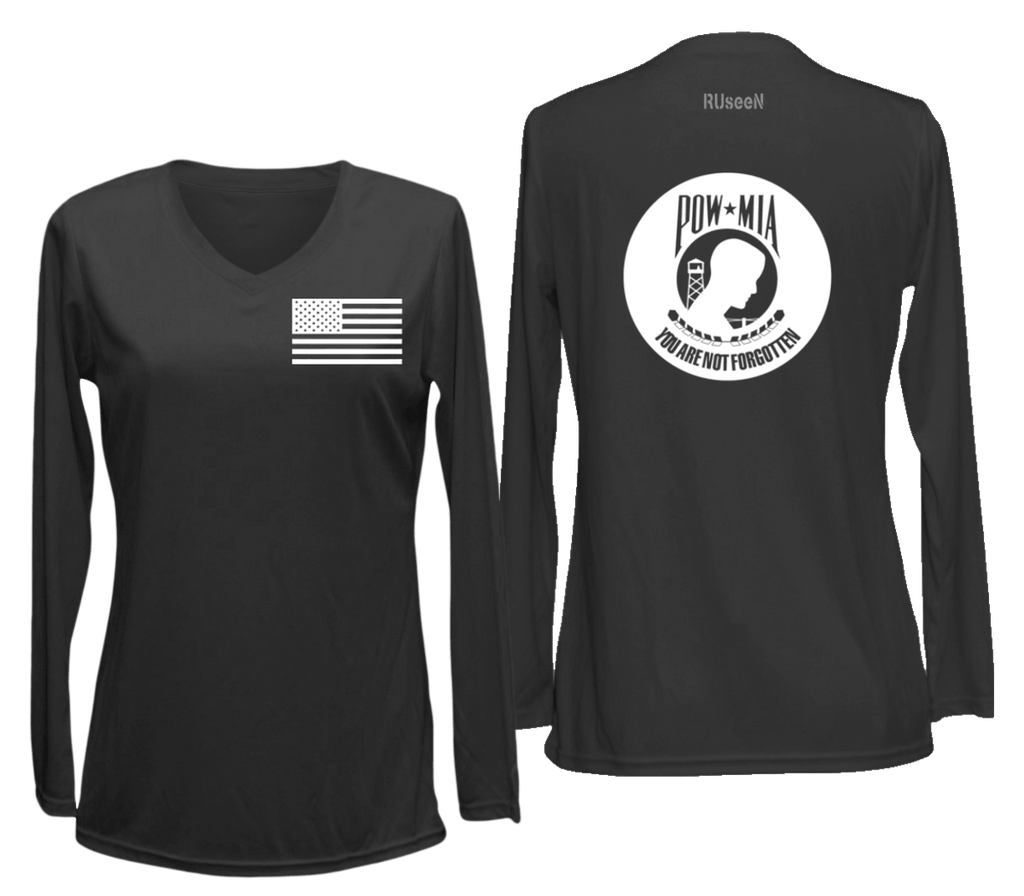 Women's Reflective Long Sleeve Shirt - POWMIA - Front & Back - Black