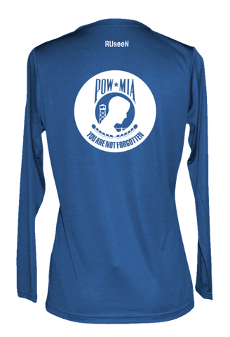 Women's Reflective Long Sleeve Shirt - POWMIA - Back - Electric Blue