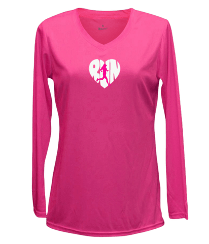 Women's Reflective Long Sleeve Shirt - Quitting - Front - Neon Pink