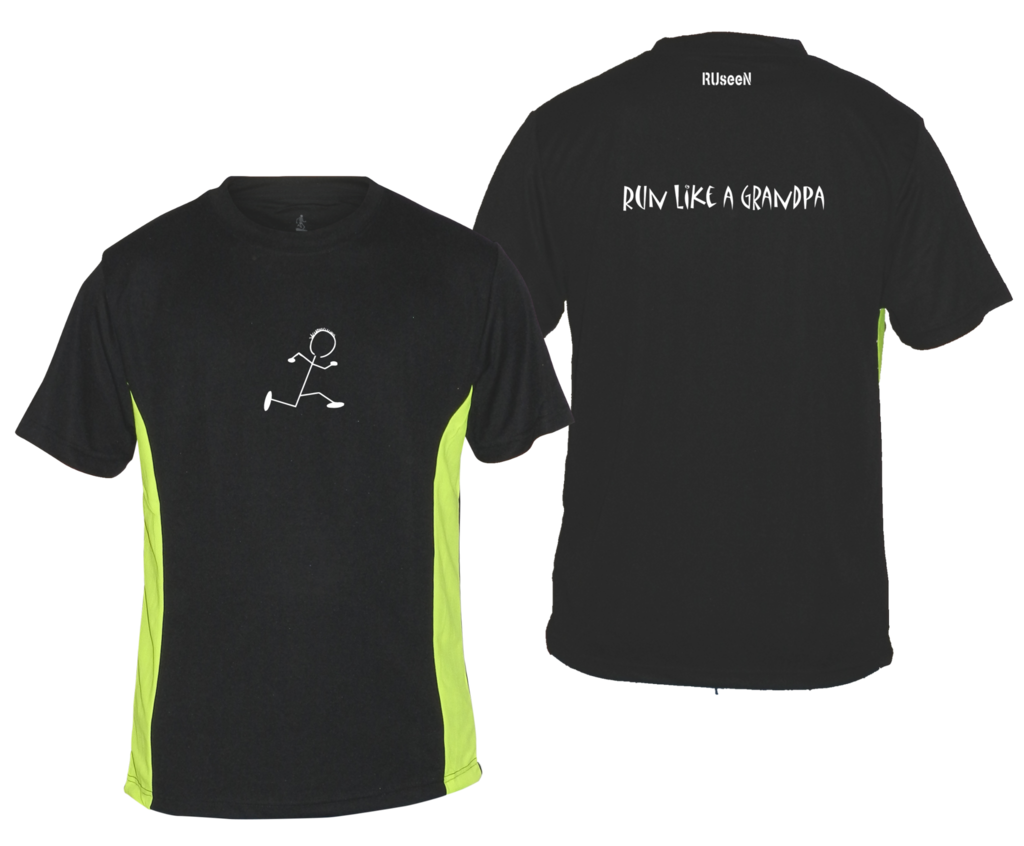 Men's Reflective Short Sleeve Shirt - Run Like a Grandpa - Front & Back - Black w/ Lime Yellow Stripe