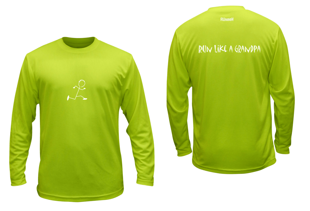 Unisex Reflective Long Sleeve - Run Like a Grandpa - Front & Back - Lime Yellow