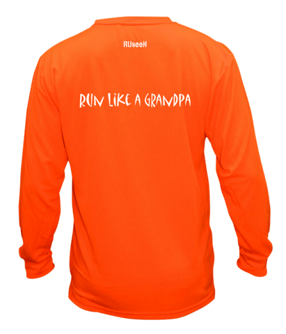 Unisex Reflective Long Sleeve - Run Like a Grandpa - Back - Orange