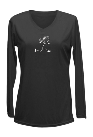 Women's Reflective Long Sleeve Shirt - Run Like a Grandma - Front - Black