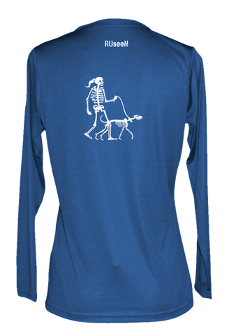 Women's Reflective Long Sleeve Shirt - Dog - Back - Electric Blue