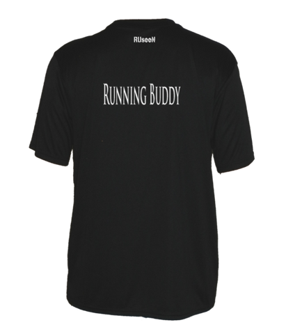 Men's Reflective Short Sleeve Shirt - Running Buddy - Back - Black