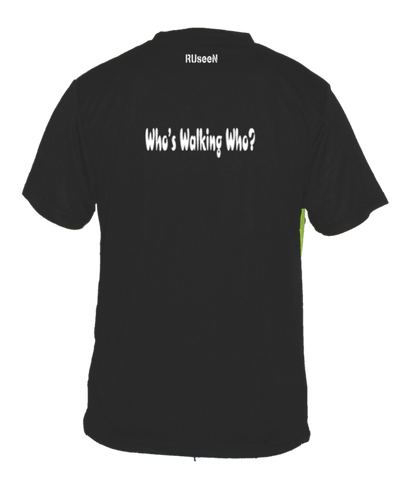 Men's Reflective Short Sleeve Shirt - Who's Walking Who - Back - Black