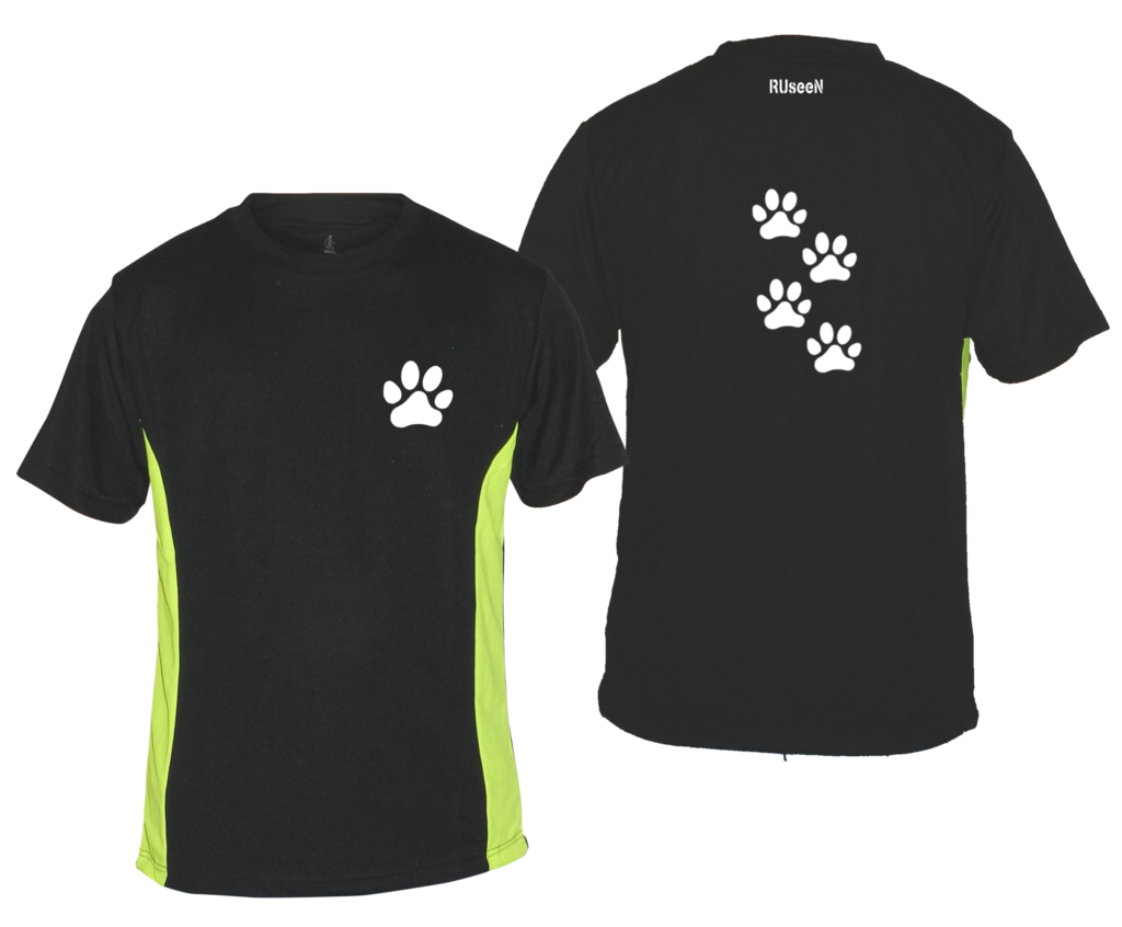 Men's Reflective Short Sleeve Shirt - Paws - Front & Back - Black w/ Lime Yellow Stripe
