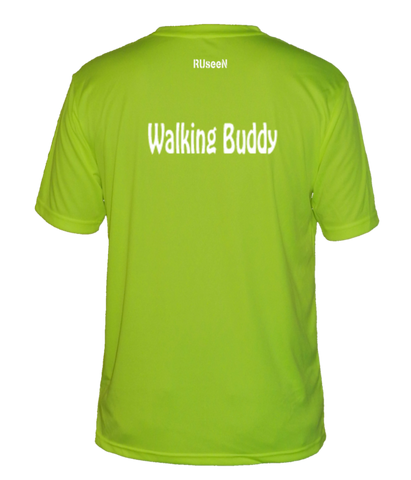 Men's Reflective Short Sleeve Shirt - Walking Buddy - Back - Lime Yellow