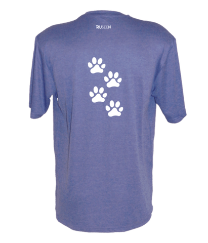 Men's Reflective Short Sleeve Shirt - Paws - Back - Royal Heather