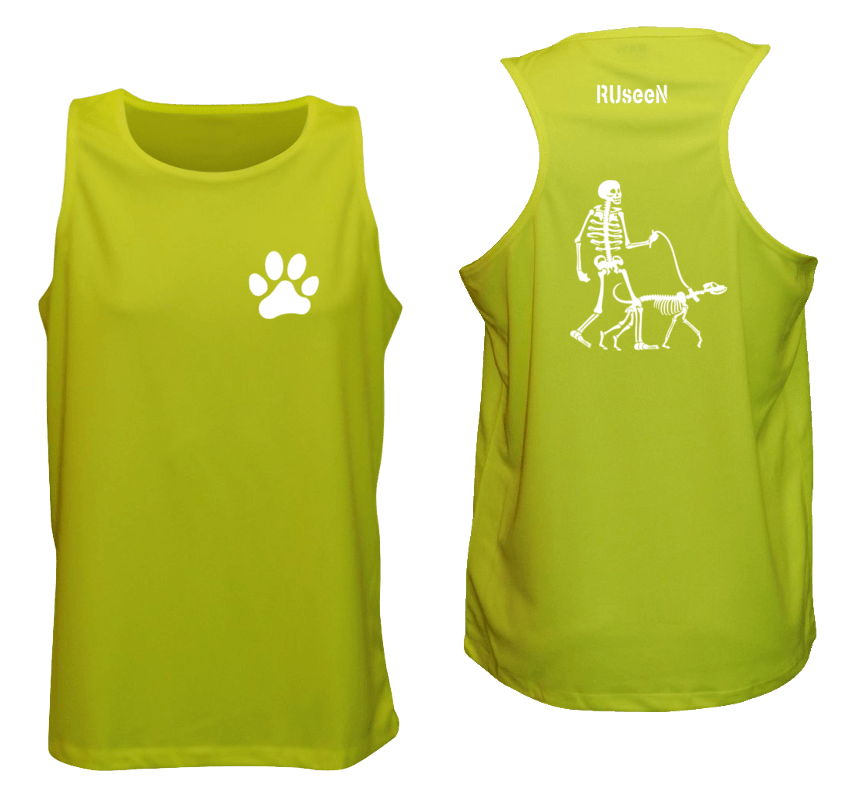 Men's Reflective Tank - Skeleton Walking Skeleton Dog - Front & Back - Lime Yellow