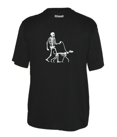 Men's Reflective Short Sleeve Shirt - Skeleton Walking Skeleton Dog - Back - Black