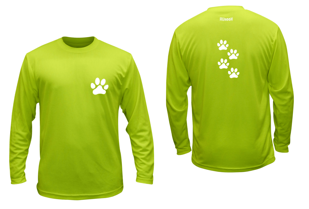 Unisex Reflective Long Sleeve - Paw Prints - Front & Back - Lime Yellow