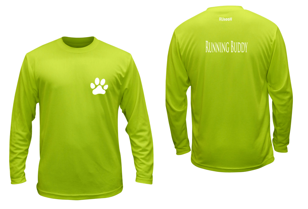 Unisex Reflective Long Sleeve Shirt - Running Buddy - Front & Back - Lime Yellow